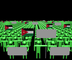 Crowd of people with signs and Jordanian flags illustration