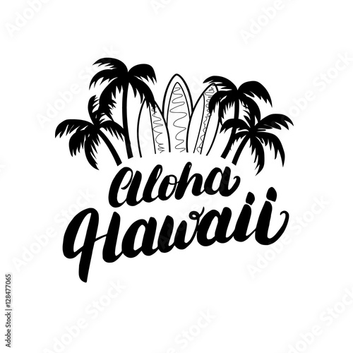 Aloha Hawaii hand lettering surf poster, tee print