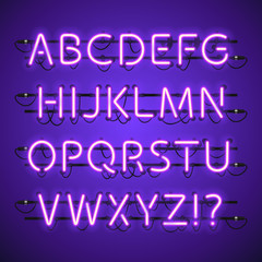 Glowing Neon Violet Alphabet