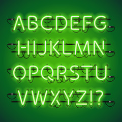 Glowing Neon Lime Green Alphabet