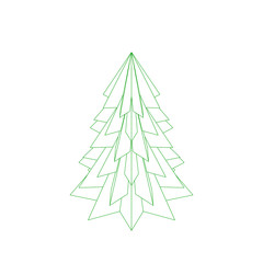 Spruce tree.Isolated on white background.Vector outline illustra