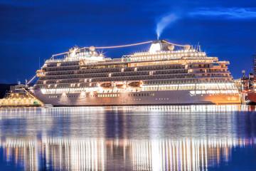 Bergen harbor with cruise ship in Norway, UNESCO World Heritage Site