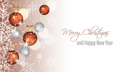 Christmas greeting card. Happy New Year vector illustration.