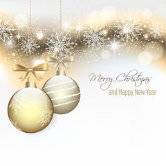 Christmas card with hanging baubles and snowflakes. Happy New Year.