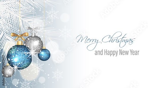 Merry Christmas and Happy New Year greeting card.\
