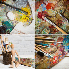 Collage of paint brushes with acrylic paint