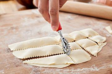 Making handmade ravioli pasta