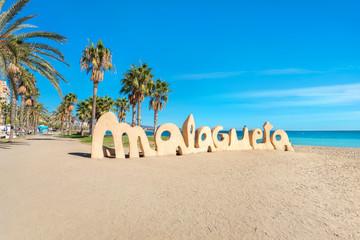 Wall Mural - Malagueta beach in Malaga. Andalusia, Spain