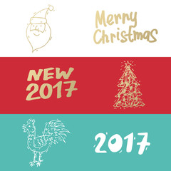 Merry Christmas and happy New Year banners. Hand drawn vintage style. Postcard, printed matter, greeting card, badges, website design, labels, internet marketing. Flat design vector illustration.
