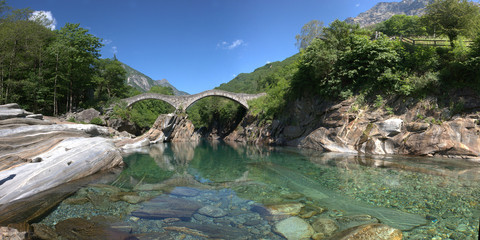 Lavertezzo, Switzerland rocks in the canyon of the Verzasca Rive