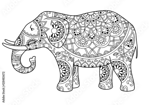 """Hand Drawn Decorative Outline Elephant With Indian"