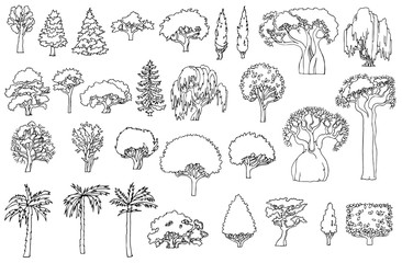Black and white line drawing.Landscape elements vector set.Hand drawn isolated sketchy trees and bushes.