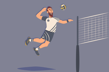 Cartoon Volleyball player with ball. Comic character