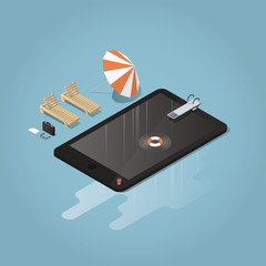 Isometric vector waterproof device concept illustration. Tablet or phone represented as a pool with diving board, lifebuoy, sunbed, umbrella, briefcase,glasses. Big puddle of water is under the device