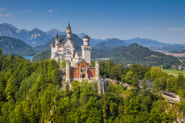 Printed kitchen splashbacks Historical buildings Classic view of Neuschwanstein Castle, Bavaria, Germany