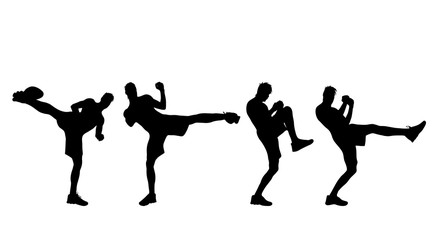 Vector silhouette of man who boxes.