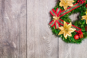 Christmas background with festive decoration and toys.On white wood surface.