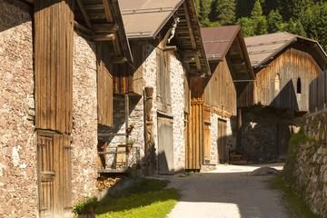 Old barns in Dosoledo, Comelico Superiore, dolomites, Italy