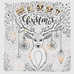 Christmas card with deer and hand drawn lettering. Vector greeting card for Christmas with deer, floral elements and lettering.