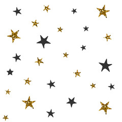 Vector seamless pattern with black and gold stars. Christmas wrapping paper.