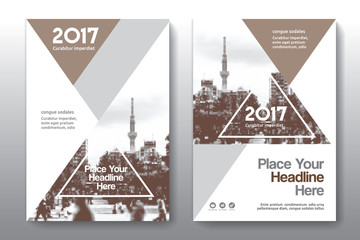 Brown Color Scheme with City Background Business Book Cover Design Template in A4. Can be adapt to Brochure, Annual Report, Magazine,Poster, Corporate Presentation, Portfolio, Flyer, Banner, Website.
