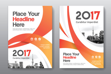 Orange Color Scheme with City Background Business Book Cover Design Template in A4. Can be adapt to Brochure, Annual Report, Magazine,Poster, Corporate Presentation, Portfolio, Flyer, Banner, Website.
