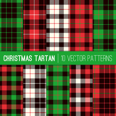 Christmas Tartan Plaid Patterns. Red, Green, White and Black Tartan Plaid and Pixel Gingham Check Patterns. Modern Tartan Xmas Backgrounds. Vector Tile Swatches made with Global Colors.