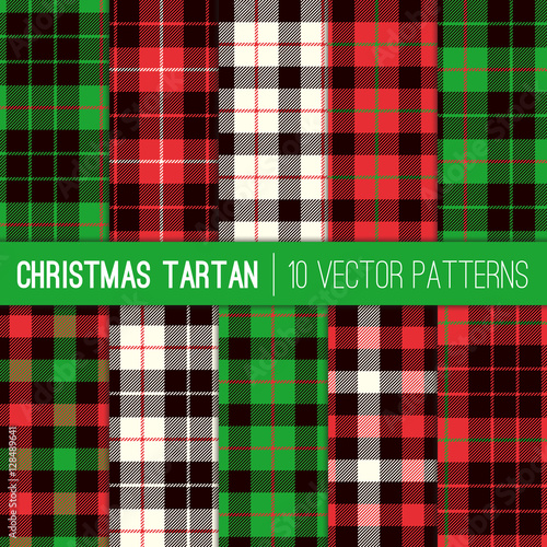 Christmas Tartan Plaid Patterns Red Green White And Black Pixel