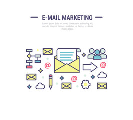 E-mail marketing signs. Vector template in outline style.