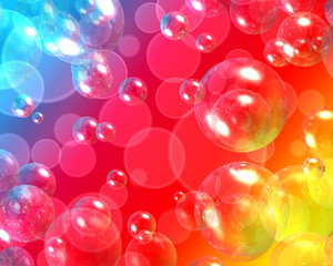 Background with bokeh and 3d air bubbles