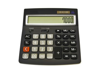 Calculator/ Adding machine (Calculator) solar powered black with colored buttons on white background
