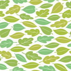 Seamless pattern of spring or summer leaves