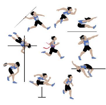 decathlon-athlete, isolated on white background