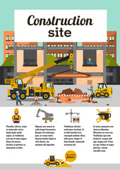 Construction site. Staff working on the construction on the background of the city. Crane car, truck. The icons in the background, cranes, transport, worker, tools. Text template. Vector illustration