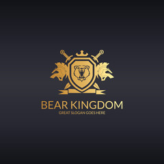 Bear kingdom. Bear coat of arms logo