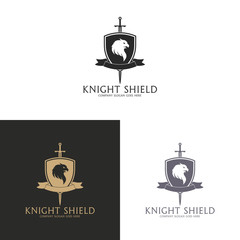 Knight shield. Gryphon coat of arms logo