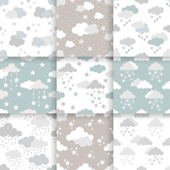 Set of Scandinavian trend seamless winter pattern. Minimalistic xmas vector seamless pattern perfect for wallpaper, textil cotton print, bed linen, holiday package or wrapping paper.