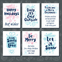 Merry Christmas. Happy New in sketch style. Christmas lettering, calligraphy. Blue, doodles, christmas tree, candy, firecracker, fireworks. Hand drawn vector illustration.