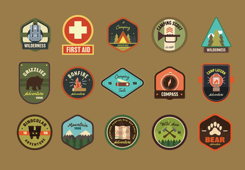 Wilderness and Camping Badges Layout