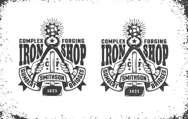 Smithy, workshop logo in vintage retro style. Hands holding pliers gripping cogwheel, forging hammer, retro ribbon. Vector layered illustration. Easy to edit.