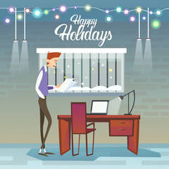Business Man Hold Contract Celebrate Merry Christmas And Happy New Year Flat Vector Illustration