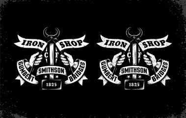 Vintage logo blacksmith workshop in two versions: standard and with letterpress effect. Thorough separationby layers - ease editing.