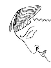 Hand drawing face. Abstract surreal vector template can use for posters cards, stickers, illustrations, t-shirt art, as decorative element.