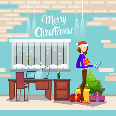 Woman Hold Present Box Messaging Online Cell Phone Merry Christmas And Happy New Year Flat Vector Illustration