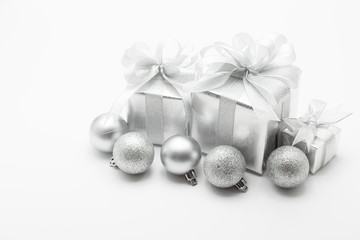 Silver gift box for Christmas festival