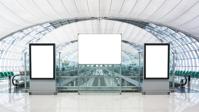 Blank advertising billboard in the Airport