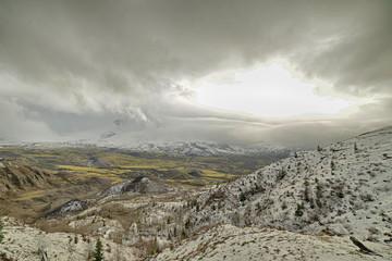 Spirit Lake valley from Johnston ridge Mt. St. Helens