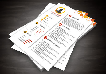 Resume Layout with Orange Circles Design