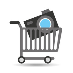 buying cart camera photographic design vector illustration eps 10