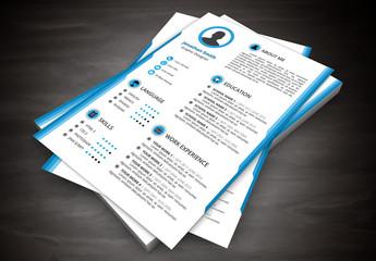 Resume Layout with Blue Half Border